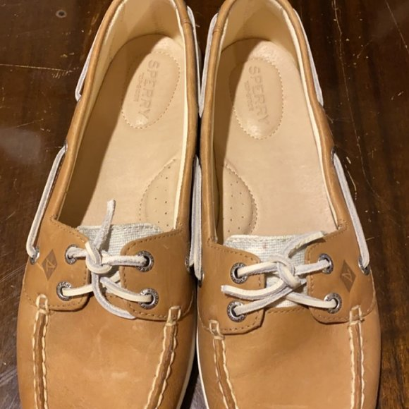 Tan and Blue Sperry Boat Shoe